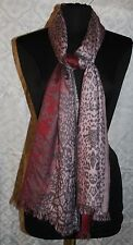 Charlie Paige Womens Large Scarf Wrap Ombre Pink Cheetah Animal Print Fringe