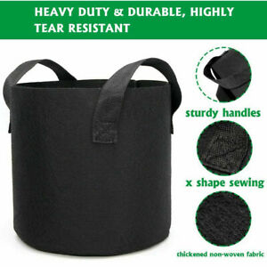 5 Grow Bags Plant Fabric Pot Nursery Soil Bag with Handles Nonwoven 5 Gallons