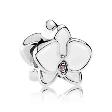 RETIRED PANDORA! NEW Enamel White Orchid Sterling Silver Charm RRP $69