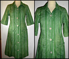 VINTAGE 40S COTTON WORK DAY OVERALL DRESS UK 12 WWII WARTIME CHORE UTILITY