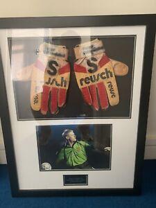 Framed Peter Schmeichel Match Worn Gloves