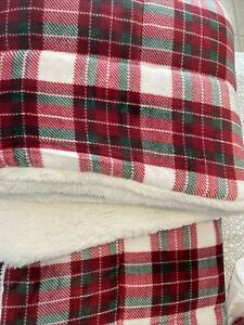 Warm & Cosy Plush Sherpa Comforter Set 3Pcs Christmas Red Plaid Queen NEW