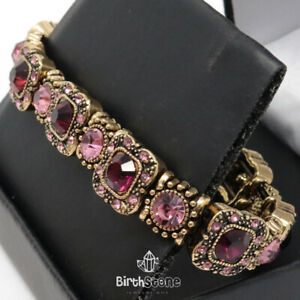 Vintage Turkish 14.52Ct Amethyst Beaded Tennis Bracelet Woman Jewelry 18K
