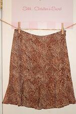 AXCESS LIZ CLAIBORNE Lined Skirt Brown & Beige Print Flowy Sz 8 *XLNT