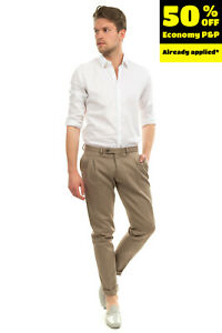 RRP €145 PAOLO PECORA Pleated Trousers Size 50 / L Stretch Turn-Up Cuffs