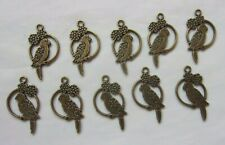 Brass Bronze Parrot Bird Charms - Charm Bracelet Jewellery Findings