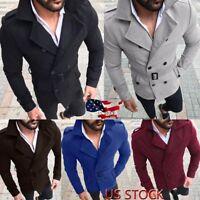 2774bad55 US Men's Autumn Winter Slim Fit Long Sleeve Suit Top Jacket Trench Coat  Outwear