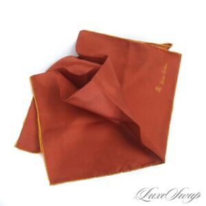 NWT Brooks Brothers Solid Cinnamon Rust Gold Piped Silk HandRolled Pocket Square
