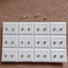 JOBLOT-12 pairs of 0.5cm crown set crystal diamonte stud earrings. Silver plated