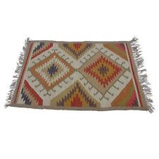 Hand Loomed Large KILIM Rug Tribal Geometric Pattern Fair Trade Autumn Tones