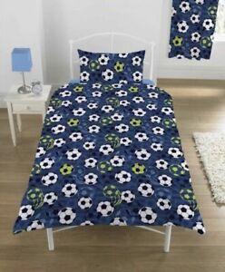 Football Blue Boys Single Duvet quilt cover with Pillow Case kids bedding