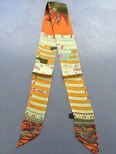 The Math Symbol Print Pony Tail Scarf, Beige Theme -- 100%  Silk Twill