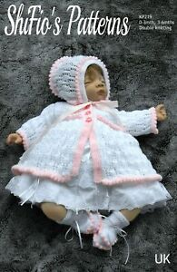 Knitting Pattern for Baby Jacket, Bonnet & Booties, Baby Knitting Pattern, 0 ...