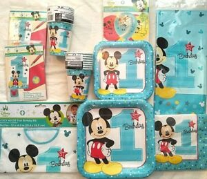 MICKEY MOUSE Fun To Be One 1st Birthday Party Supply SUPER Kit Bib,Balloons Inv