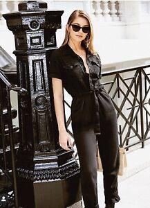 GOOD AMERICAN Waist-tie cotton-twill jumpsuit BLACK SizeXS-3XL rrp £165