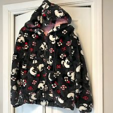 Disney Parks Womens Sz M Black Gray Pink Minnie Mouse Coat Jacket fuzzy furry