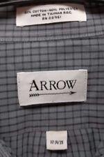Men's Arrow 17 34/35 Gray Plaid Button Down Dress Shirt LS Oxford Pocket EUC