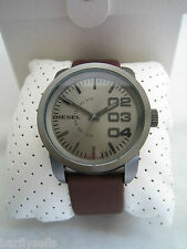 Reloj Diesel doble abajo DZ1467 Negro Acero Inoxidable Marrón Cuero Nuevo Y En Caja