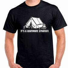 Camping tent legitimate strategy woods alone fire build bare hands T shirt