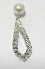 18K WHITE GOLD 1 CARAT DIAMOND PEARL PENDANT 3.5 GRAMS
