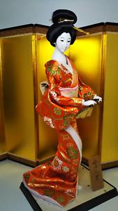 """Antique Japanese Geisha Doll in Kimono 18.5"""" 47cm wooden base Vintage Gorgeous"""