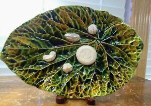 """Vintage """"Ma Ix Zena"""" Majolica Leaf 10 1/2"""" Plate With Applied Nuts"""