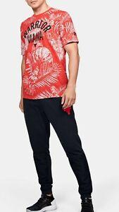 Project Rock Aloha Camo Tee Dwayne Johnson Hawaiian Shirt 1351585-608 Medium Red