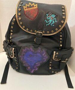 """Descendants 3 Disney Faux Leather Black 15"""" School Backpack Gold Trim Appliques"""