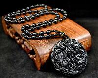 Wunderschöner Drache&Phoenix Jade-Anhänger (schwarz) mit Halskette