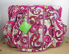 Vera Bradley Paisley Meets Plaid Frame Shoulder Bag Purse Pink Purple Gray
