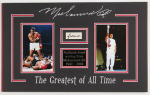 Muhammad Ali 11x18.25 Custom Matted Cut Display with (1) Hand Written Word  JSA