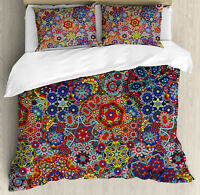 Paisley Duvet Cover Set with Pillow Shams Combined Nested Paisley Print