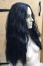 jet black wavy curly frizzy puffy 3/4 half head long hair wig fancydress