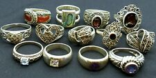 LOT OF 13 GORGEOUS STERLING SILVER 925 RINGS MIXED SIZES