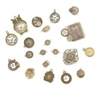 20pcs Vintage Metal Zinc Alloy Mixed Clock Pendant Charms Steampunk Clock C W1O4