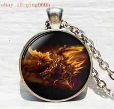 Vintage Fire Dragon  Cabochon Tibetan silver Glass Chain Pendant Necklace #34