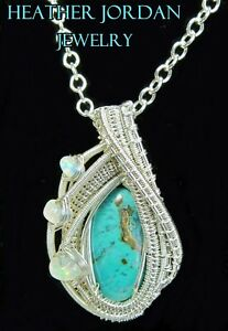 Gem Silica Chrysocolla Pendant in Sterling Silver with Ethiopian Opals
