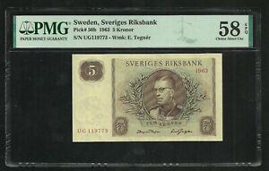 Sweden : 5 Kronor 1963 ; PMG : Choice About UNC 58 ; EPQ