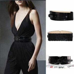 Women Genuine Leather Wide Corset Belt Waistband Buckle Cummerbund Waist Belt