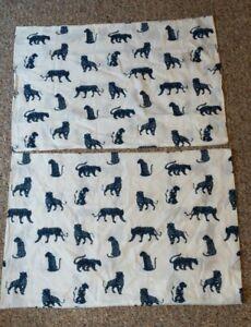 IKEA Urskog Full/Queen Pillowcases Blue Tigers Big Cats