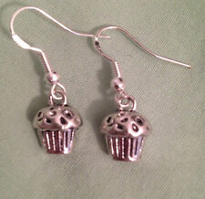 Ear Wires (or Gp on request) Cupcake Earrings - Pewter with Sterling Silver
