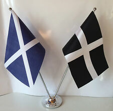 Scotland & Cornwall Flags Chrome and Satin Table Desk Flag Set