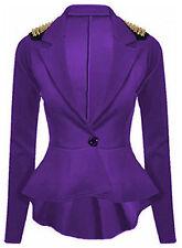 Ladies Women Peplum Casual Spike Studded Shoulder Frill Style Button Coat Blazer Red 2xl