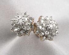 Vintage 10K Yellow GOLD .90tcw DIAMOND Cluster Pierced Stud EARRINGS 4.2 Grams
