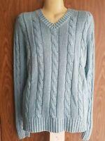RALPH LAUREN Men 100% Silk Cable Knit Sweater V Neck Jumper Size L