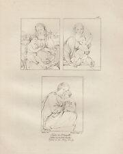 1803 Raffaello incisione in acciaio Studi della Santa Famiglia