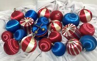 Lot of 22 Vintage Satin Ornaments ~ Red White & Blue & Stripes Patriotic