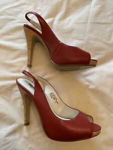 """Mossimo  Red Leather Slingback 4.5"""" High Heel Pumps Size 7.5"""