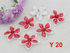 "5cm 2"" DIY Satin Ribbon Flower with Crystal Appliques Bows Craft Coral 5PCS"