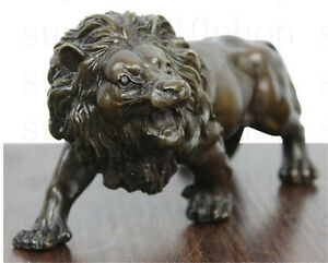 Sculpture&Carving Lions Bronze  coffee Fierce Wild Animals Figure Lions Statue